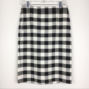 Ann Taylor Black White Buffalo Plaid Pencil Skirt